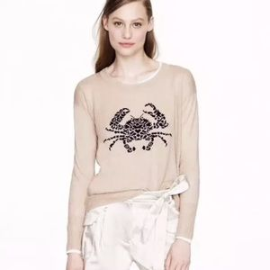 J.Crew Embroidered Crab Sweater Wool Pullover
